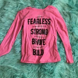 Pink describing shirt